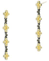 Freida Rothman Visionary Fusion Cubic Zirconia Clover Linear Drop Earrings In Black & Gold Tone Sterling Silver - Metallic