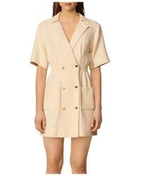 Sandro Alize Double Breasted Tweed Dress - Natural