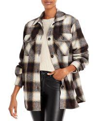 Aqua Plaid Button Front Jacket - Brown