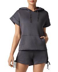 BLANC NOIR Short Sleeve Hoodie - Grey