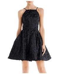 Aqua Embroidered Party Dress - Black