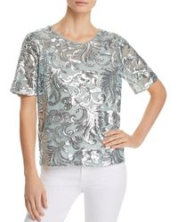 Vero Moda - Dione Sequined Filagree Sheer Top - Lyst