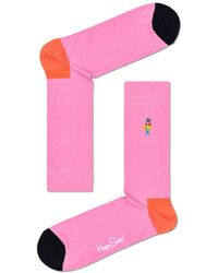 Happy Socks Colour - Blocked Embroidered Hula Dancer Crew Sock - Pink