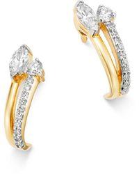 Adina Reyter - 14k Yellow Gold Grace Diamond J Hoop Earrings - Lyst