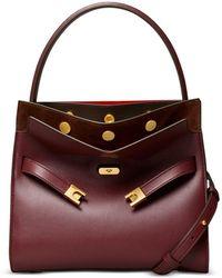 Tory Burch Small Lee Radziwill Leather Double Bag - Purple