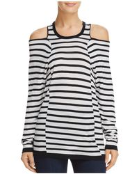 T By Alexander Wang - Cold-shoulder Striped Top - Lyst