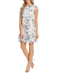 Cece Lilly Print Ruffle Dress - Blue
