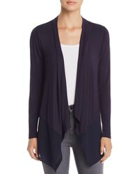 Avec - Mixed Media Waterfall Cardigan - Lyst