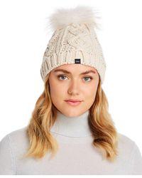 Echo Asiatic Raccoon Fur Pom - Pom Cable - Knit Beanie - White