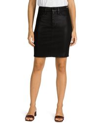 7 For All Mankind Jen7 By Coated Denim Pencil Skirt - Black