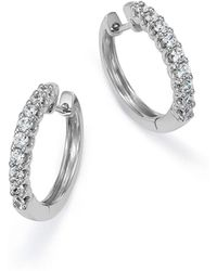 Bloomingdale's - Diamond Hoop Earrings In 14k White Gold, .50 Ct. T.w. - Lyst