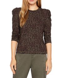 Sanctuary Leopard Print Puff Sleeve Top - Brown