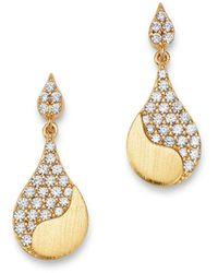 Bloomingdale's Pavé Diamond Drop Earrings In 14k Satin Yellow Gold - Metallic