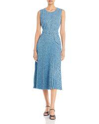 T Tahari Paisley Print Pleated Belted Dress - Blue