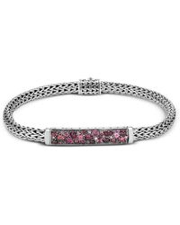 John Hardy - Classic Chain Silver, Pink Spinel, Dark Pink Tourmaline, Pink Tourmaline & Pink Garnet Bracelet - Lyst