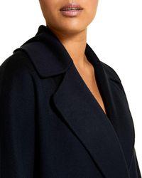Marina Rinaldi Plus Tabloidbis Double Breasted Wool Coat - Blue
