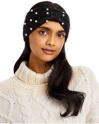 Aqua Imitation Pearl Knit Headband - Black