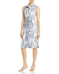 T Tahari Snake Print Shirt Dress - Blue