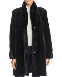 Maximilian Reversible Sheared Mink Fur Coat - Black