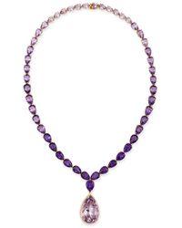 Bloomingdale's Amethyst & Diamond Statement Y Necklace In 14k Rose Gold - Purple