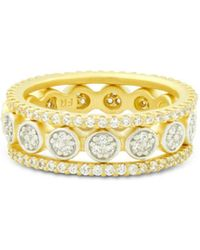 Freida Rothman - Fleur Bloom Empire Stackable Rings In 14k Gold - Plated & Rhodium - Plated Sterling Silver - Lyst