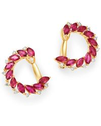 Bloomingdale's - Ruby & Diamond Front - To - Back Earrings In 14k Yellow Gold - Lyst