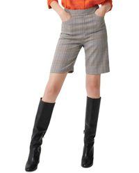Maje Check Bermuda Shorts - Grey