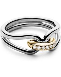 Shinola - 14k Yellow Gold & Sterling Silver Diamond Lug Ring - Lyst
