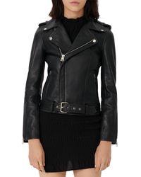 Maje Boceliz Leather Moto Jacket - Black