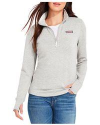 Vineyard Vines Dreamcloth Zip Up Shirt - Grey