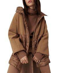 Marella Diomede Monochrome Quilted Hooded Jacket - Brown