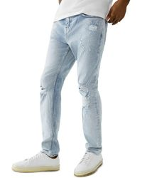 True Religion Rocco No Flap Skinny Fit Jeans In Crest Blue Worn