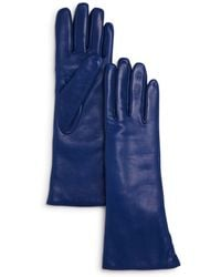 Bloomingdale's Cashmere Lined Leather Gloves - Blue