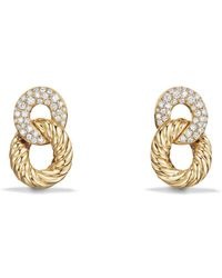 David Yurman - Belmont Extra Small Curb Link Drop Earrings With Diamonds In 18k Gold - Lyst