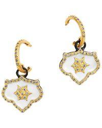Armenta 18k Yellow Gold & Blackened Sterling Silver Old World Crivelli Champagne Diamond Shield Drop Earrings - Metallic