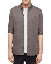 AllSaints Redondo Half - Sleeve Slim Fit Button - Down Shirt - Grey