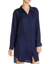 Josie Bardot Satin Sleepshirt - Blue