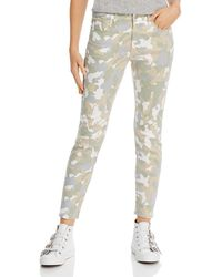 Aqua Camo Print Skinny Jeans - Multicolor