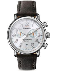 Shinola The Runwell Black Leather Strap Chronograph - Metallic