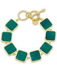 Freida Rothman Harmony Stone Link Bracelet In 14k Gold - Plated Sterling Silver - Green