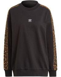 adidas Crew Leopard Stripe Sweatshirt - Black