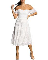 Dress the Population River Off - The - Shoulder Midi Dress - White