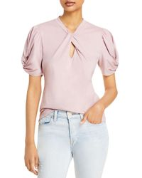 7 For All Mankind Twist Neck Top - Pink