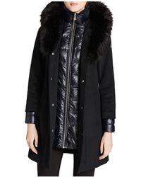 CALVIN KLEIN 205W39NYC - Faux Fur Trim Mixed Media Coat - Lyst