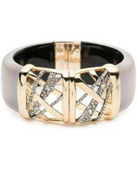 Alexis Bittar - Crystal Embellished Crosshatch Cuff Bracelet - Lyst