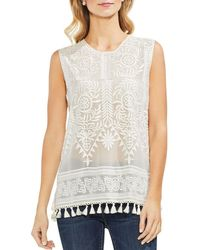 Vince Camuto - Embroidered Tassel-trim Top - Lyst