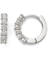 Roberto Coin 18k White Gold Small Hoop Earrings With Diamonds - Metallic