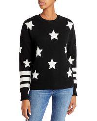 Aqua Cashmere Star Print Cashmere Jumper - Black