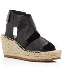 Eileen Fisher Willow Espadrille Platform Wedge Sandals - Black