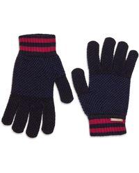 Ted Baker Birdseye Merino Blend Gloves - Blue